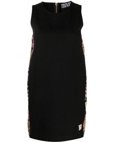 Черное джинсовое платье трапеция без рукавов Versace Jeans Couture