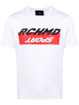 Трикотажная белая футболка с вырезом John Richmond