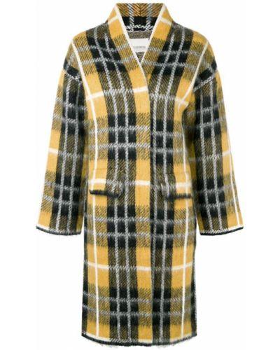 Желтое длинное пальто с капюшоном из мохера Laneus