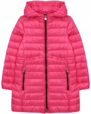 Длинное пальто стеганое пуховое Moncler Enfant