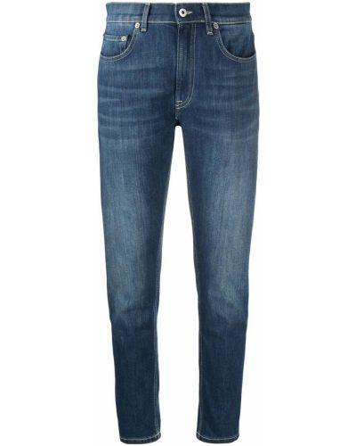 Синие джинсы-скинни на молнии с нашивками Dondup