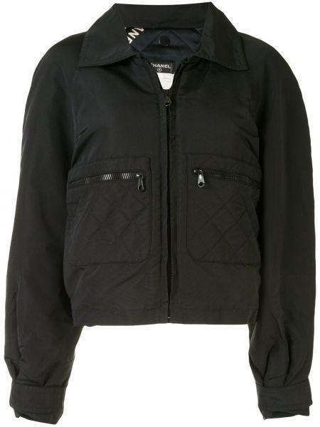 Черная спортивная куртка на молнии с вышивкой Chanel Pre-owned