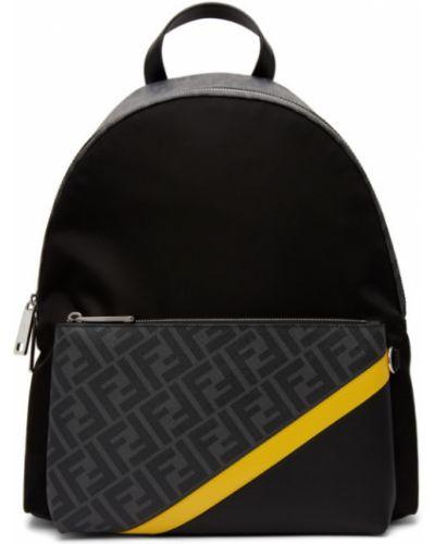 Текстильный черный рюкзак с карманами Fendi