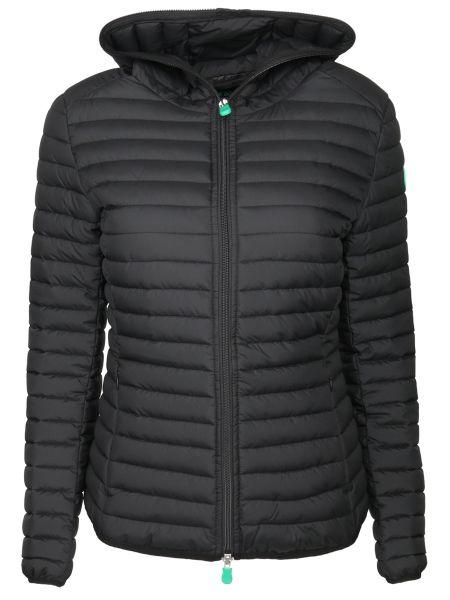 Нейлоновая черная стеганая куртка на молнии с карманами Save The Duck