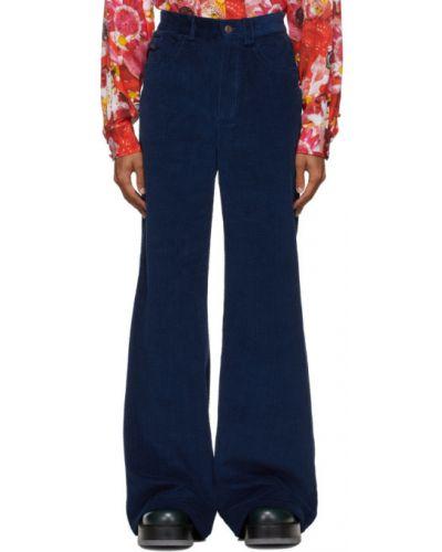 Розовые расклешенные джинсы с карманами с вышивкой вельветовые Marc Jacobs