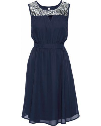 Платье с пайетками с вырезом Bonprix