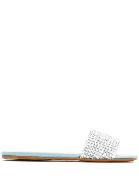 Niebieskie sandały skorzane Miu Miu