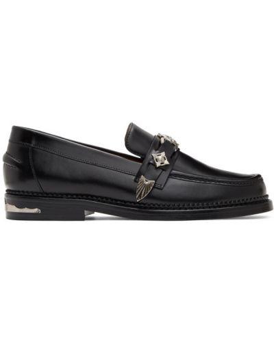 Кожаные черные лоферы на каблуке круглые Toga Virilis