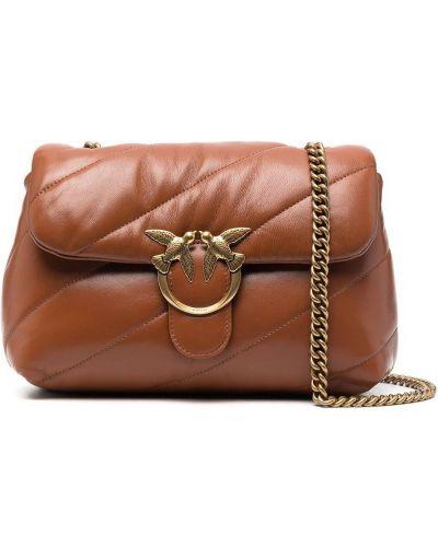 Стеганая коричневая кожаная сумка на цепочке Pinko