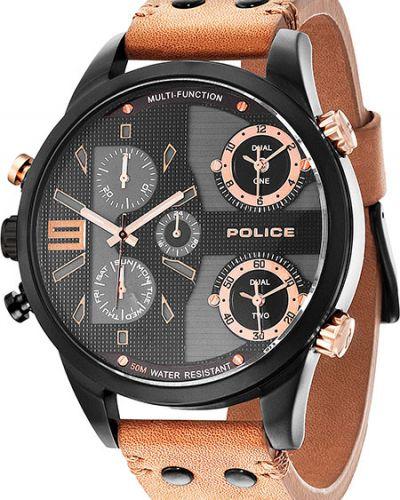 Часы водонепроницаемые с кожаным ремешком Police