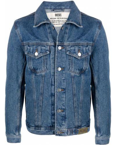 С рукавами синяя джинсовая куртка с воротником Diesel