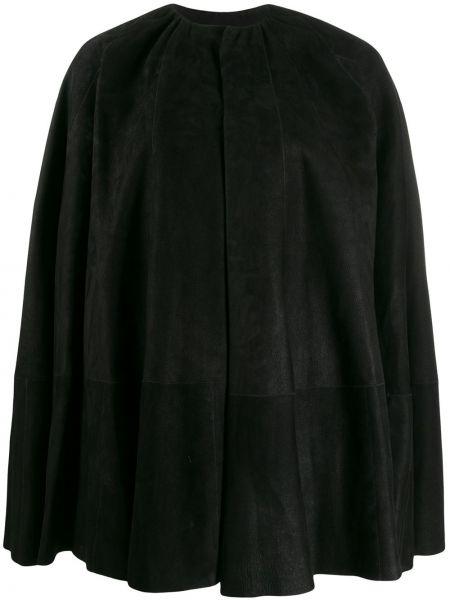 Кожаный черный длинное пальто с капюшоном Rick Owens