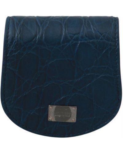 Niebieskie etui na okulary skorzane zapinane na guziki Dolce And Gabbana
