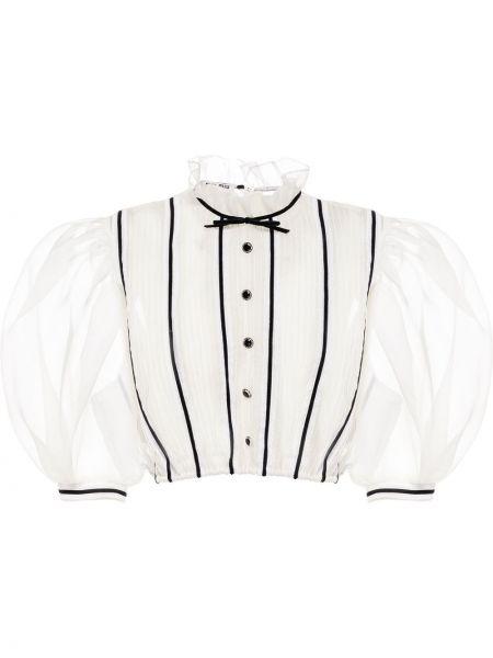 Biała bluzka z jedwabiu Miu Miu