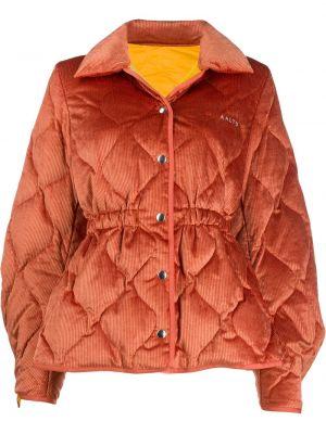 Pomarańczowa długa kurtka bawełniana z dekoltem w serek Aalto