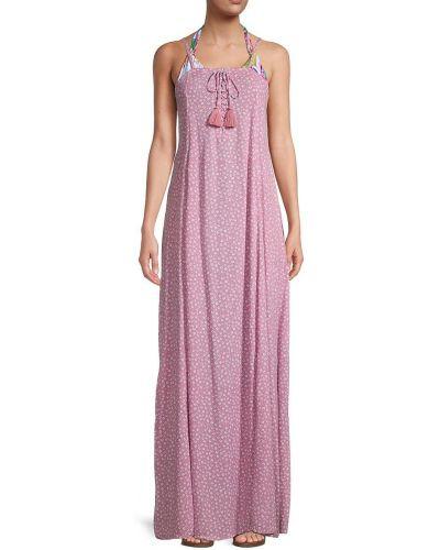 Кружевное розовое платье макси без рукавов Tiare Hawaii