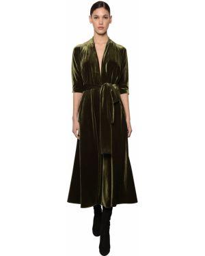 Платье миди с V-образным вырезом с поясом Luisa Beccaria