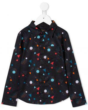 Czarna koszula bawełniana z długimi rękawami Velveteen