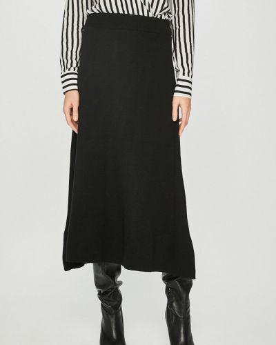 Długo spódnica z wiskozy czarny Answear