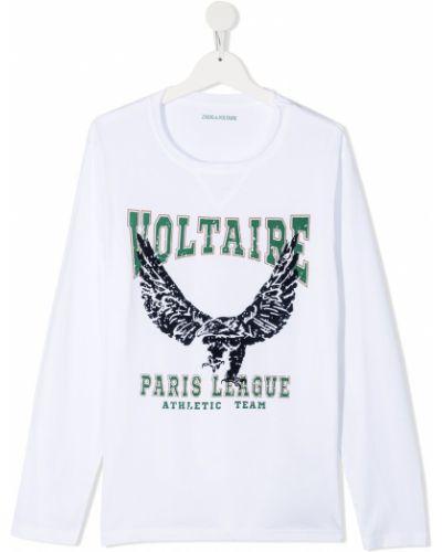 Белая хлопковая прямая футболка с круглым вырезом Zadig & Voltaire Kids