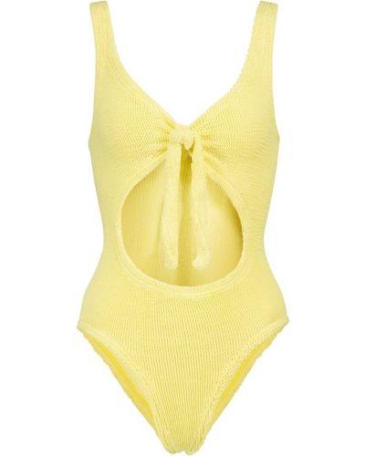 Нейлоновый желтый купальник с вырезом Hunza G