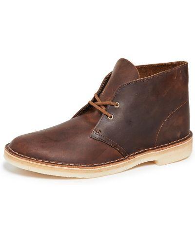 Кружевные кожаные ботинки на шнуровке Clarks