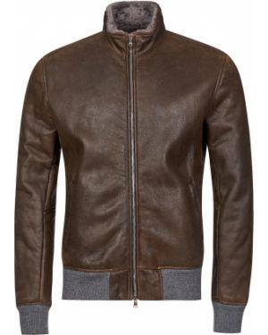 Кожаная куртка из овчины - коричневая Barba Napoli