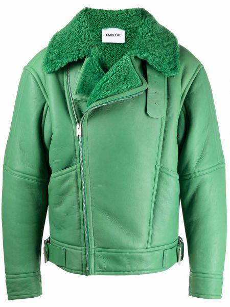 Кожаная куртка из овчины - зеленая Ambush