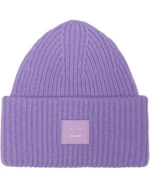 Шерстяная шапка бини - фиолетовая Acne Studios