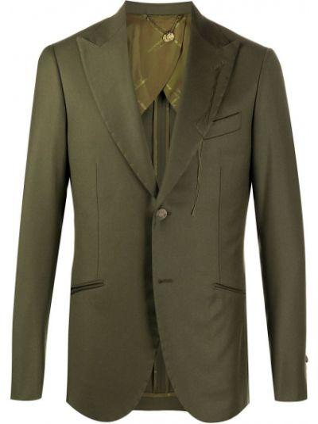 Шерстяной зеленый однобортный пиджак с карманами Maurizio Miri