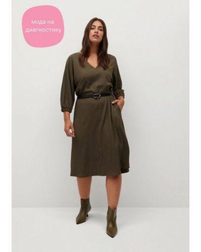 Повседневное зеленое платье Violeta By Mango