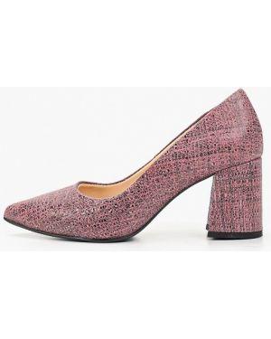 Туфли на каблуке кожаные розовый Hestrend