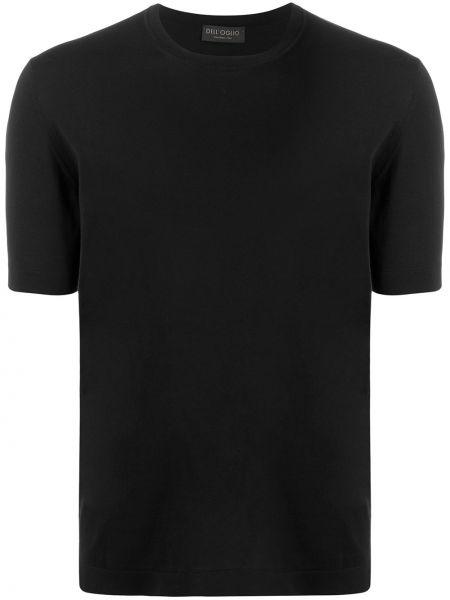 Koszula krótkie z krótkim rękawem prosto czarna Dell'oglio