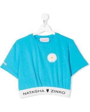 Синяя футболка в рубчик круглая с круглым вырезом Natasha Zinko Kids