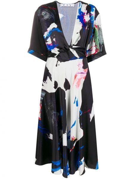 Платье миди с абстрактным принтом с принтом Off-white