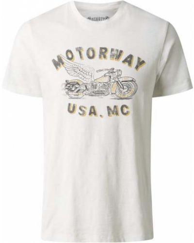 T-shirt z printem - biała Schott Nyc