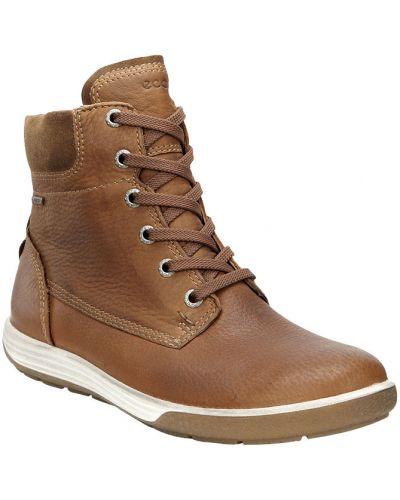 Ботинки без каблука осенние коричневые Ecco