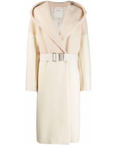 Белое пальто с капюшоном Sportmax