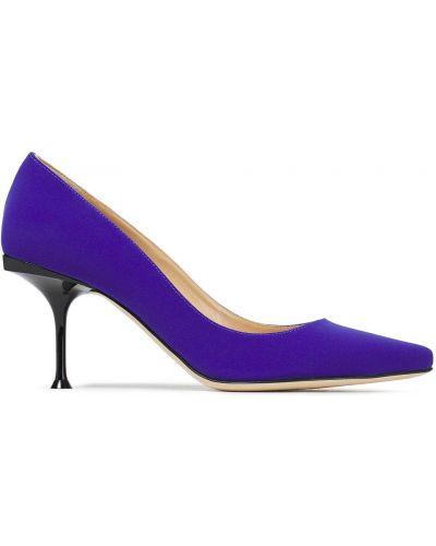 Фиолетовые кожаные туфли-лодочки с острым носом Sergio Rossi