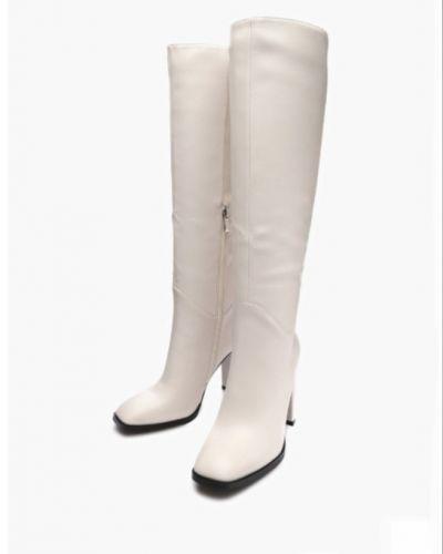 Кожаные ботфорты - белые Enjoin'