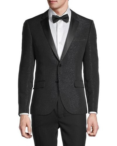 Czarna długa kurtka z długimi rękawami zapinane na guziki Hugo Hugo Boss