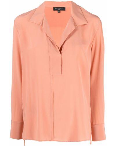 Розовая шелковая блузка с воротником Antonelli