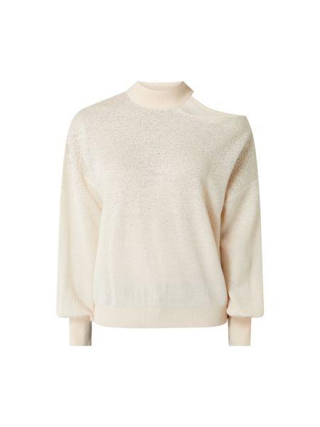 Wełniany różowy sweter z kołnierzem Guess