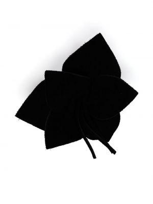 Czarna broszka zamszowa Saint Laurent