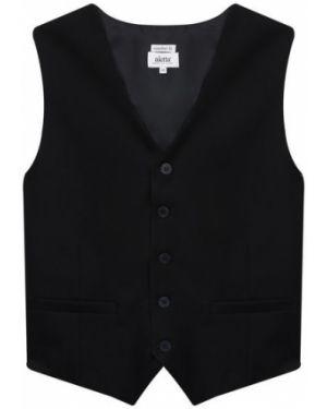Черная жилетка на пуговицах из вискозы с карманами Aletta