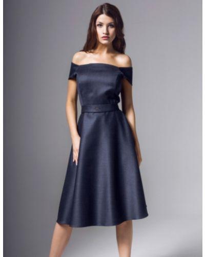 Sukienka midi rozkloszowana krótki rękaw z paskiem Kasia Zapała