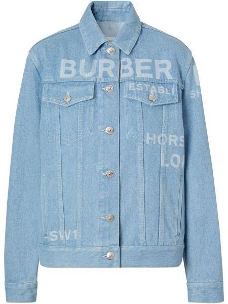 Классическая прямая синяя куртка на пуговицах Burberry