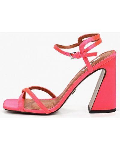 Босоножки на каблуке розовый Topshop