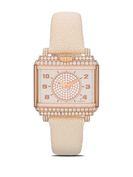 Часы на кожаном ремешке золотые винтажные с бриллиантом De Grisogono