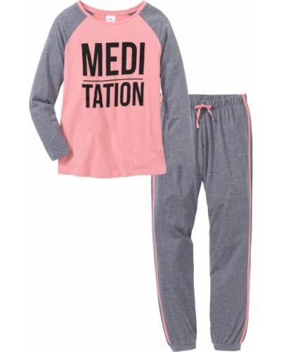 Пижама серый розовый Bonprix
